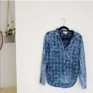 Cloth & Stone Acid Wash Button Down Plaid Flannel
